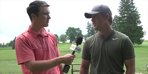 Zach Bauchou (R) spoke about his round with Kevin<br>Cassidy of AmateurGolf.com (click the video below)