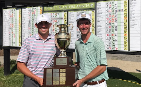 Myles Creighton (left) and his caddie Mark Johnston hoist the Rice Planters trophy