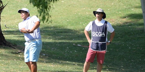 Sam Choi watches a shot on Friday <br>(SCGA Photo)