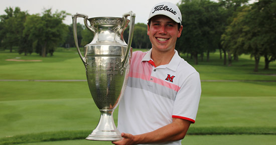 Patrick Flavin, the 2017 Illinois State Amateur champion<br>(CDGA photo)