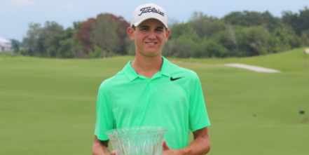 Davis Harrison with the Florida Junior Match Play trophy <br>(FSGA Photo)