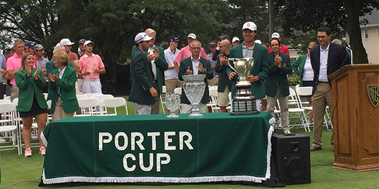 Brandon Wu stands with the trophy after winning the 2017 Porter Cup