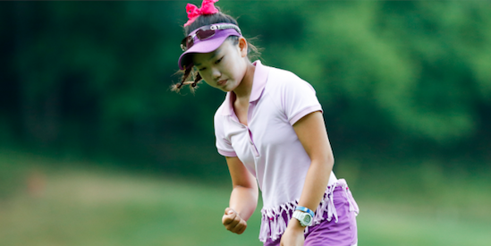 Lucy Li reacts to a birdie on No. 10 <br>(USGA Photo)