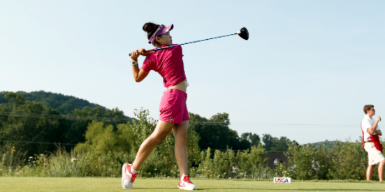Lucy Li tees off on No. 2 during the Round of 64 <br>(USGA Photo)
