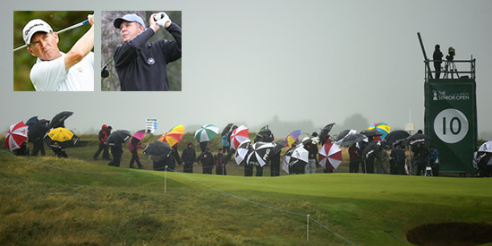 Chip Lutz (L) and Randy Haag (R) battled the conditions and made it to the weekend<br>(Golfweek photo)