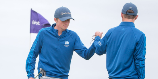 Day one leader Sandy Scott (L) <br>(Scottish Amateur Photo)