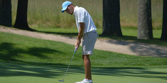 Max Theodorakis putts on day two at Ellington Ridge CC <br>(CSGA Photo)