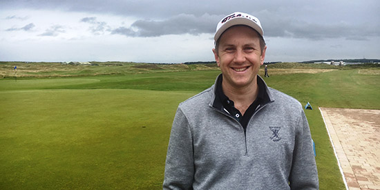 This is the smile of a golfer who just buried his opponent with<br>two hole outs at Prestwick (Scottish Golf Union photo)