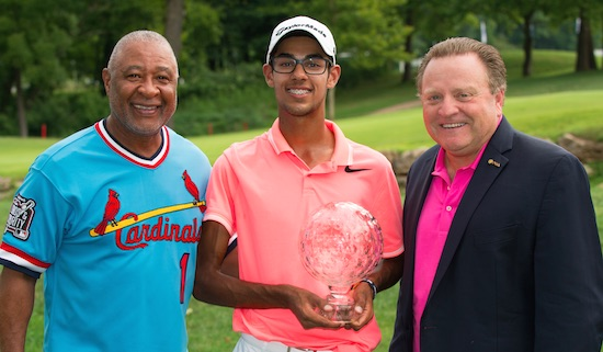 Record-breaker Akshay Bhatia (c) with Baseball Hall Of Fame Member<br>Ozzie Smith and PGA of America President Paul Levy