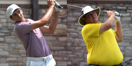 William Nottingham (L) is tied with Lee Maxwell (R) at 5 under<br>(TGA photo)