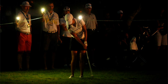 Phone flashlights were used for light at the U.S. Women's Amateur playoff