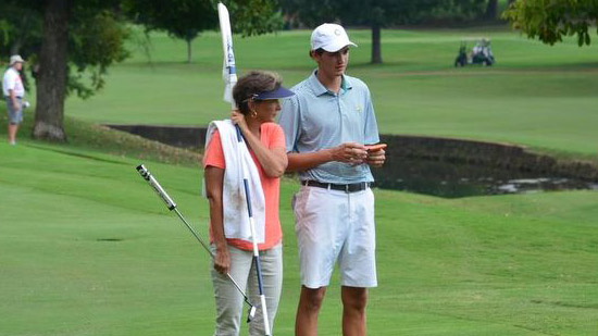 William Nottingham's mother hopes to guide him to a win<br>in the Tennessee Amateur. So far so good. (TGA photo)