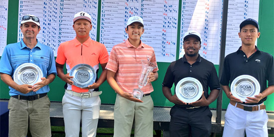 Brandon Mai (center) overtook Tim Hogarth (left)<br>for the 50th SCGA Public Links title (SCGA photo)