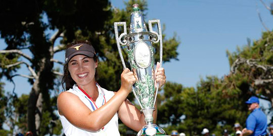 Sophia Schubert with the Robert Cox Trophy (USGA photo)