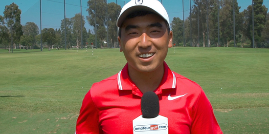 Doug Ghim on the range at the Riviera CC