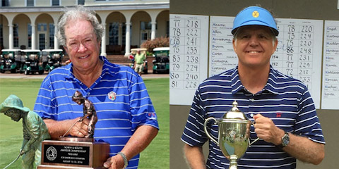 Two-time defending champion Paul Simson (L) and Jones Cup<br>Senior champion Walter Todd (R) are tied with one round to go