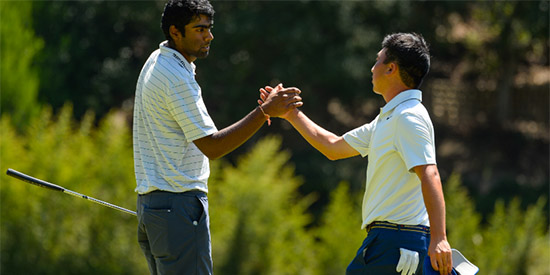 Doug Ghim (R) beat Sahith Theegala (L) in a match full of lead changes<br>(USGA photo)
