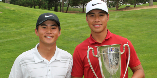 2016 champion Shintaro Ban [left] <br>with 2017 winner and fellow WCAL product Isaiah Salinda <br>(photo courtesy of NCGA)