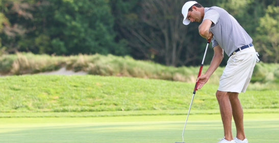 Stewart Hagestad putts on day one of the Met Open <br.(MGA Photo)