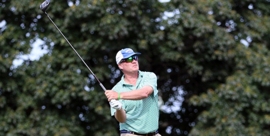 First round leader Todd Wood watches a drive on Monday <br>(MGA Photo)
