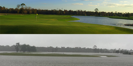 U of H's home course, before and after Harvey (Steve Timms photo)