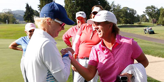 Canadians Terrill Samuel (left) and Judith Kyrinis (right) meet in<br>the U.S. Senior Women's Championship final. (USGA/Steven Gibbons)