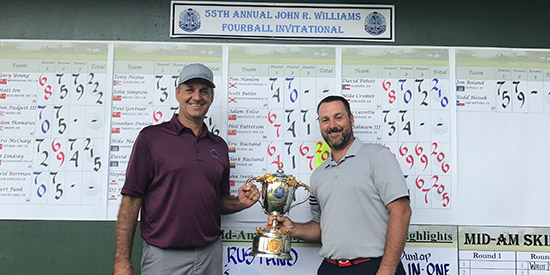 Eric (L) and Clark (R) Rustand are the 55th Annual John R.<br>Williams Four-Ball Invitational champions (Oak Hill CC photo)