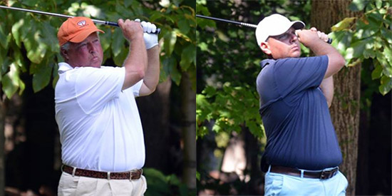 Keith Decker (L) and Justin Young (R) co-lead at Williamsburg GC<br>(VSGA photo)