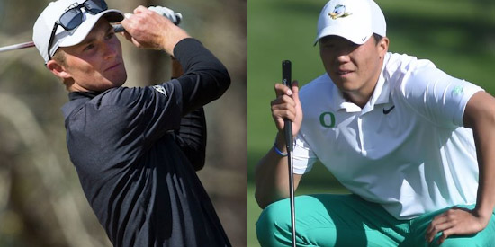 Will Zalatoris (L) and Norman Xiong (R) were co-medalists at the Rod Myers Invitational<br>(Wake Forest and Oregon University photos)