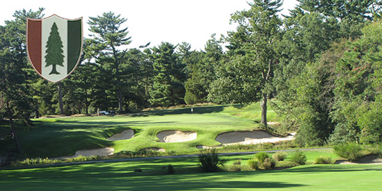 The 18th green at Pine Valley with the entrance road crossing the fairway<br>(Randy Haag photo)