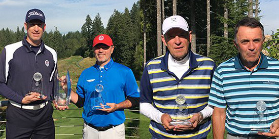 From L to R: Senior Team Champions Erik Hanson and Craig Larson; Super<br>Senior Champions Gudmund Lindbjerg and John Gallacher (PNGA photo)