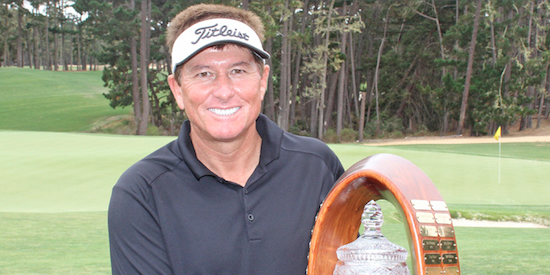 Tony Padilla holds the NCGA Senior Amateur trophy <br>(NCGA Photo)
