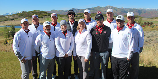 The victorious Utah team at a chilly Tuhaye Golf Club<br>(UGA photo)