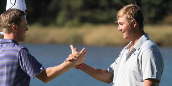 Canon Claycomb (R) is setting a torrid through 36-holes <br>(AJGA Photo)
