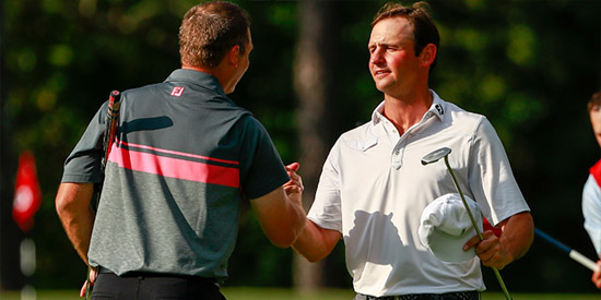 Matt Parziale receives congratulations from Sam O'Dell after advancing to the final 8<br>(USGA photo)