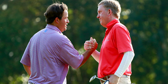 Mark Harrell (L) and Michael Muehr (R) put on a show in an epic Round of 16 match<br>(USGA photo)