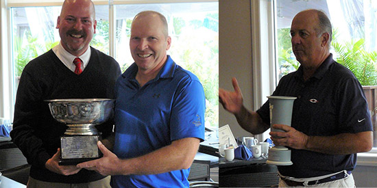 LIGA Tournament Director John McGrath and winner Gerard Connolly; Senior champ Jay Sessa<br>(LIGA Photo)