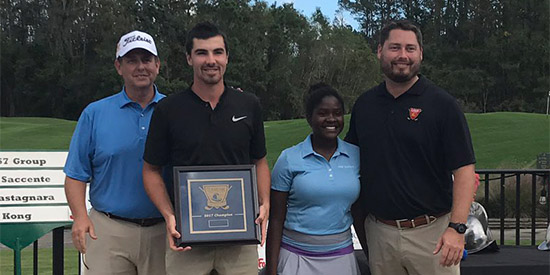 Giulio Castagnara (2nd from left) erased a six-shot deficit in nine holes<br>(St. Augustine Amateur photo)