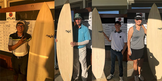 Surf's up! Bobby Kim, Stephanie Liu, George Borst, and Chase Gioffredi