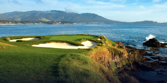 The famous par-3 7th hole at Pebble Beach <br.(USGA Photo)