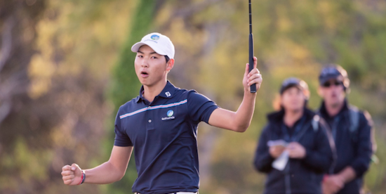Min Woo Lee celebrates a closing eagle that gave him the second round lead <br>(AAC Golf Photo)