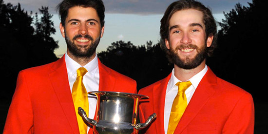 Joey Savoie (L) and Josh Whalen (R) won the Tailhade Cup for Team Canada<br>(Golf Canada photo)