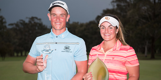 Winner Jordie Garner (L) and Tahnia Ravnjak (R) <br>(Golf Australia Photos)