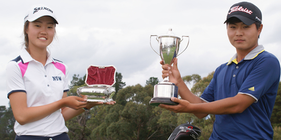 Tasmanian Open winners Grace Kim (L) and Chang Gi Lee (R) <br>(Golf Tasmania Photo)