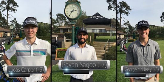 First Round leaders Pavan Sagoo (C) with Lucas Carper (L) and George McNeeley (R)