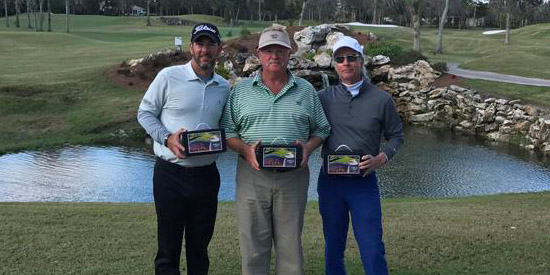 Paul Tesori (L), Harry Black and Carey Watson were the winners at the CC of Ocala<br>(FSGA photo)
