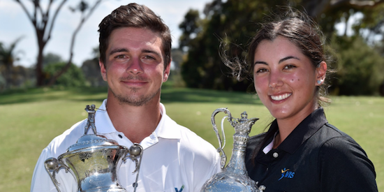2017 Victorian Amateur champions David Micheluzzi (L) and Stephanie Bunque (R) <br>(Golf Victoria Photo)