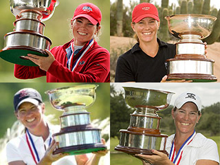 Meghan Stasi with the U.S. Women's Mid-Amateur Trophy