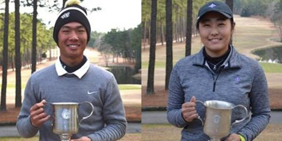 Eric Bae (L) and Reona Hirai (R) battled the cold at Pinewild CC<br>(Carolinas Golf Association photo)