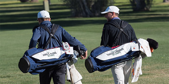 Every player in the tournament carries a bag with the name of a wounded or fallen soldier<br>(Patriot All-America photo)